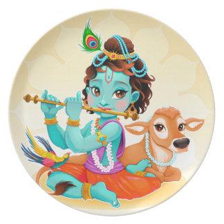 Dios indio de Krishna que juega el ejemplo de la Plato