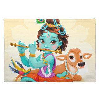 Dios indio de Krishna que juega el ejemplo de la Salvamanteles