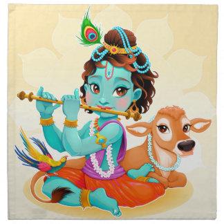 Dios indio de Krishna que juega el ejemplo de la Servilleta De Tela