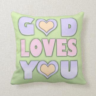 Dios le ama cojín decorativo