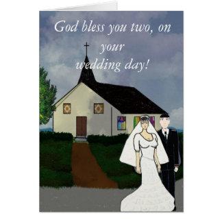 Dios le bendice, en su tarjeta del día de boda