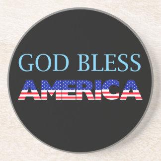 Dios patriótico bendice América Posavasos Diseño