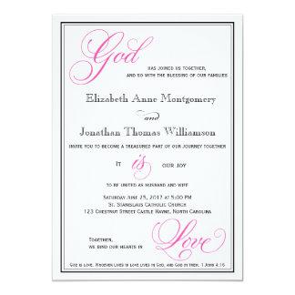 Dios rosado es invitaciones cristianas del boda invitación 12,7 x 17,8 cm