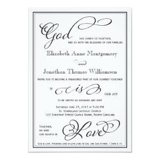 Tarjeta Dios simple es invitación cristiana del boda del