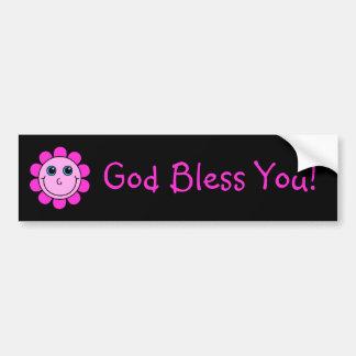 Dios sonriente rosado de la flor de la cara le pegatina para coche