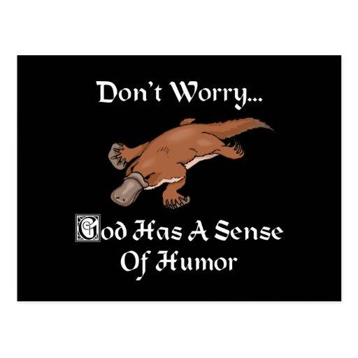 Dios tiene un sentido del humor Platypus Tarjeta Postal