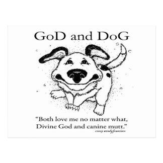 Dios y perro postal