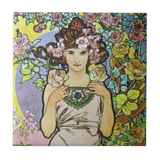 Diosa de la flor azulejo cuadrado pequeño
