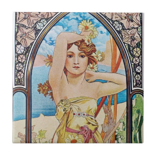 Diosa de la margarita azulejo cuadrado pequeño