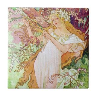 Diosa de la primavera azulejo cuadrado pequeño