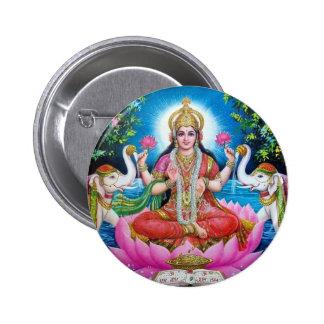 Diosa de Lakshmi del amor, de la prosperidad, y de Chapa Redonda De 5 Cm