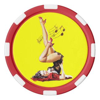 Diosa del Rockabilly II Juego De Fichas De Póquer