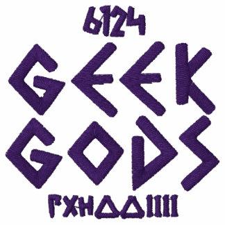 Dioses del friki púrpuras en la camisa bordada oro