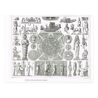Dioses egipcios y símbolos religiosos tarjeta postal