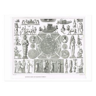 Dioses egipcios y símbolos religiosos postal