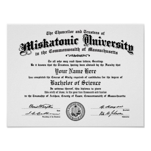 Diploma de la universidad de Miskatonic -- Mecanog Impresiones