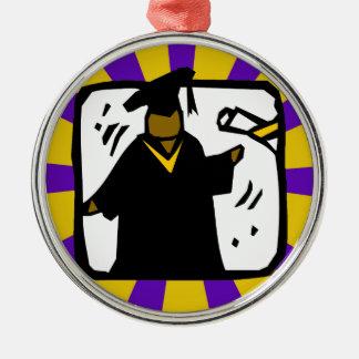 Diploma de recepción graduado (1) púrpura y oro adorno redondo plateado