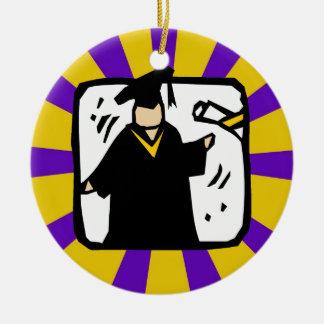 Diploma de recepción graduado (2) púrpura y oro ornamento de navidad