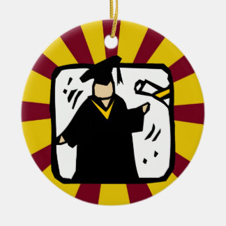 Diploma de recepción graduado (2) rojo y oro ornaments para arbol de navidad