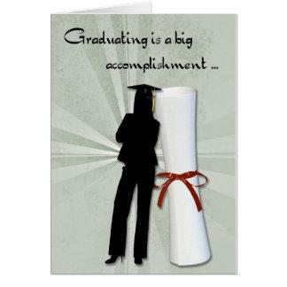 Diploma graduado del chica tarjeta de felicitación