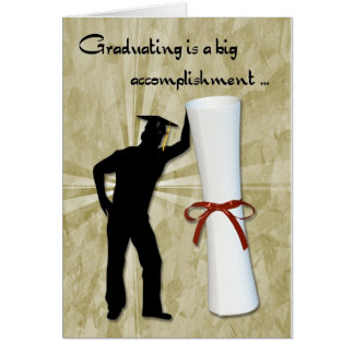 Diploma masculino graduado tarjeta de felicitación
