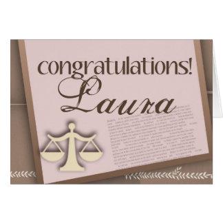 Diplomado de colegio de abogados de la enhorabuena tarjeta