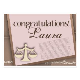 Diplomado de colegio de abogados de la enhorabuena tarjetas postales