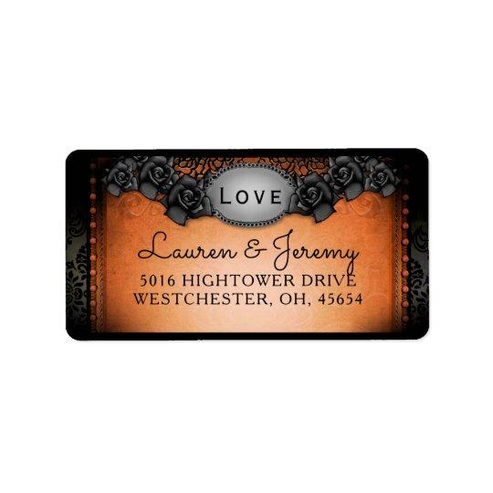 Dirección a juego anaranjada y negra del boda de etiquetas de dirección