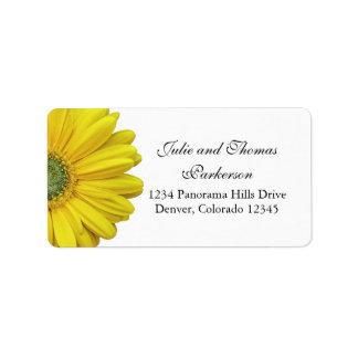 Dirección amarilla del boda de la flor de la etiquetas de dirección