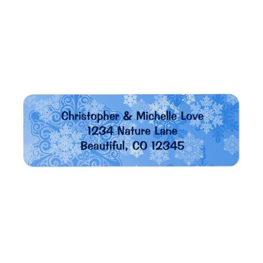 Dirección azul y blanca bonita del invierno de los etiqueta de remitente