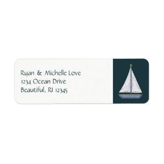 Dirección azul y blanca del velero náutico etiqueta de remitente