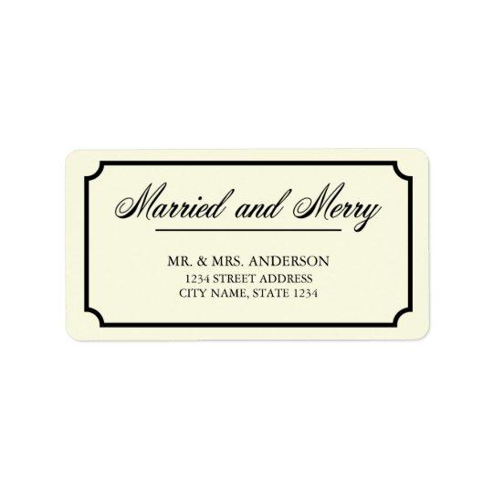 Dirección casada y feliz de la frontera clásica etiqueta de dirección