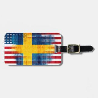 Dirección conocida de madera americana sueca del etiqueta para maletas