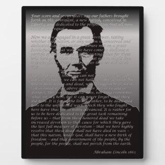 Dirección de Abe Lincoln Gettysburg Placa Expositora