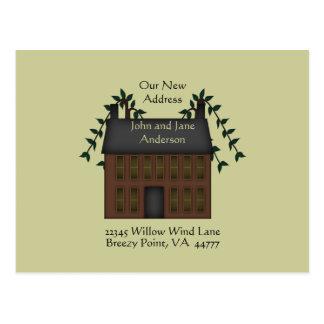 Dirección de la casa de Brown Saltbox nueva Postal