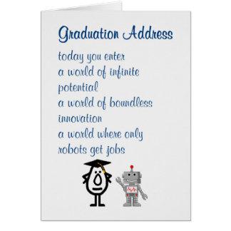 Dirección de la graduación - un poema divertido de tarjeta de felicitación