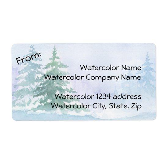 Dirección de los árboles de pino del invierno de etiquetas de envío