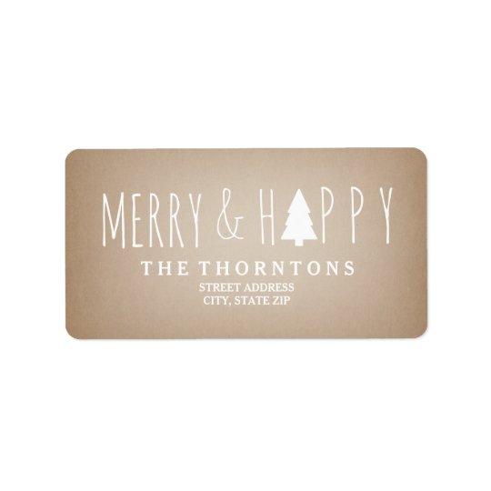 Dirección de papel de tarjetas feliz y feliz del etiquetas de dirección