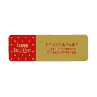Dirección decorativa clásica roja de la Feliz Año Etiqueta De Remitente