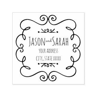 dirección del boda de novia y del novio de la sello automático