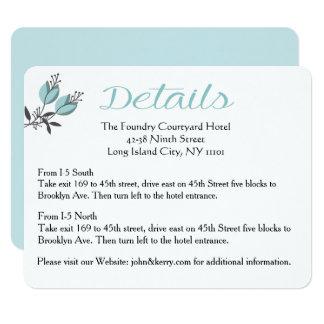Dirección del boda/el casarse florales azules de invitación 10,8 x 13,9 cm