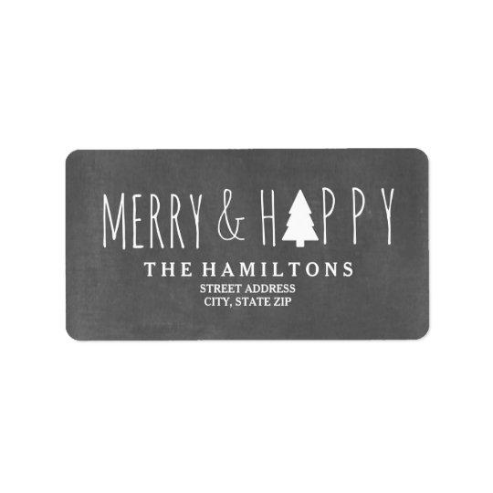 Dirección feliz y feliz del árbol de navidad de la etiquetas de dirección