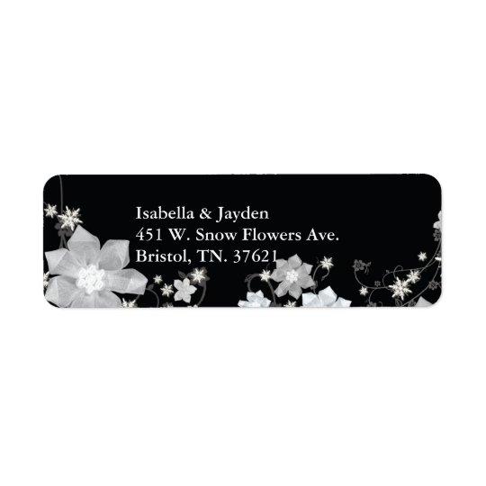 Dirección floral blanca negra del boda del etiqueta de remitente