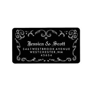 Dirección gótica blanca negra del boda de la etiquetas de dirección