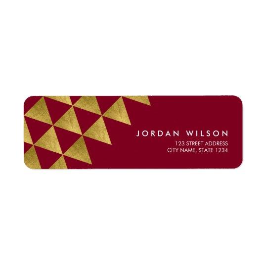 Dirección moderna del falso triángulo del oro de etiqueta de remitente