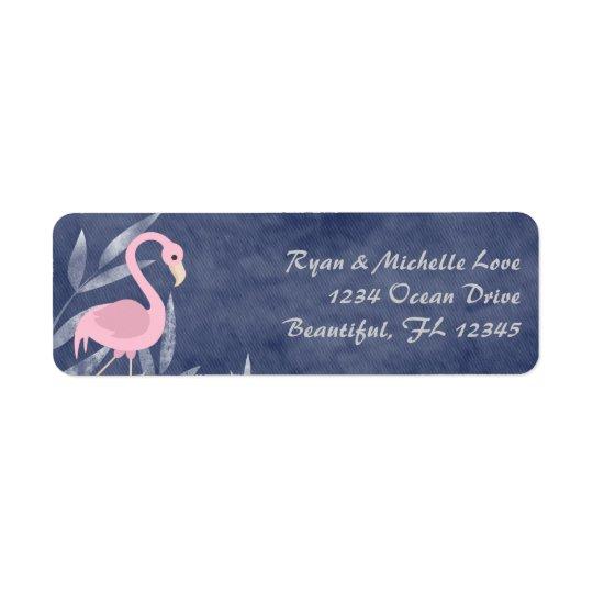 Dirección rosada tropical de la playa del flamenco etiquetas de remite
