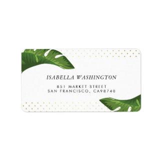 Dirección tropical del boda de las hojas de palma etiquetas de dirección