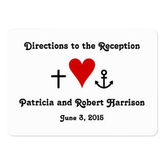 Direcciones de la recepción nupcial del amor el |  tarjetas de visita grandes