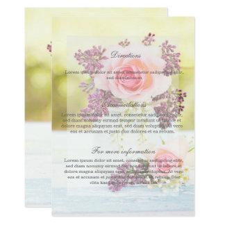 Direcciones del boda del vintage de las lilas y de invitación 12,7 x 17,8 cm