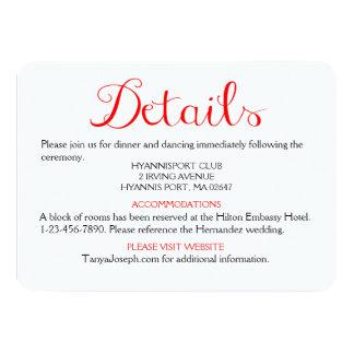 Direcciones/detalles rojos y banquete de boda invitación 11,4 x 15,8 cm